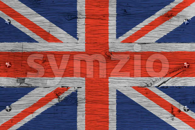 United Kingdom national flag painted old oak wood fastened Stock Photo