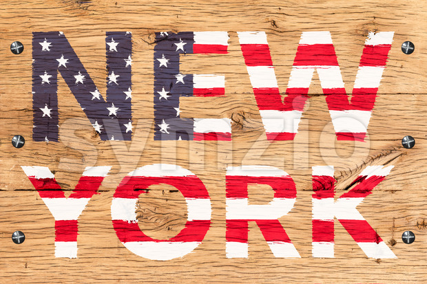 New York painted with pattern of flag United States old oak wood fastened Stock Photo