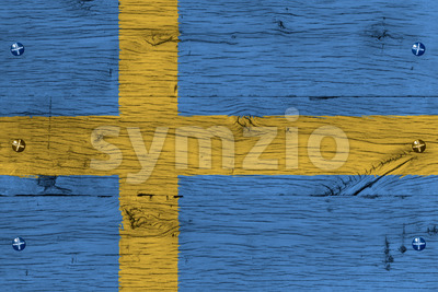 Sweden national flag painted old oak wood fastened Stock Photo