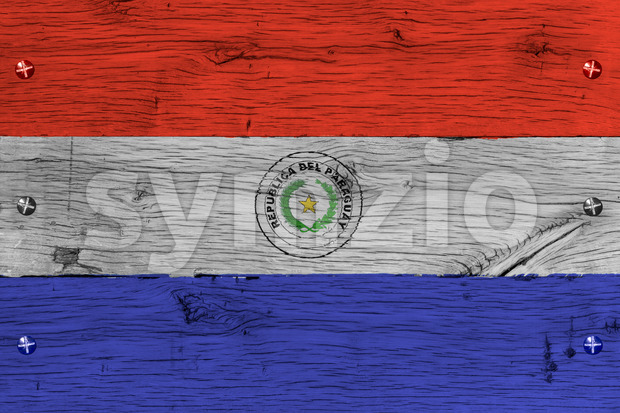 Paraguay national flag painted old oak wood fastened Stock Photo