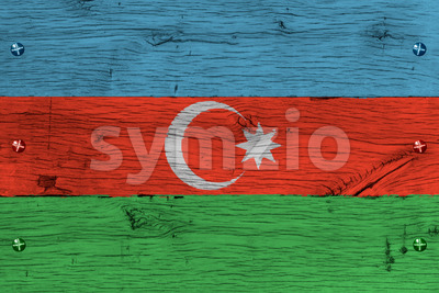 Azerbaijan national flag painted old oak wood fastened Stock Photo