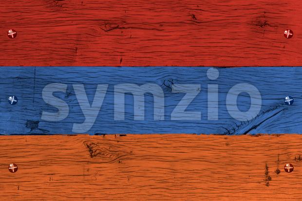 Armenia national flag painted old oak wood fastened Stock Photo