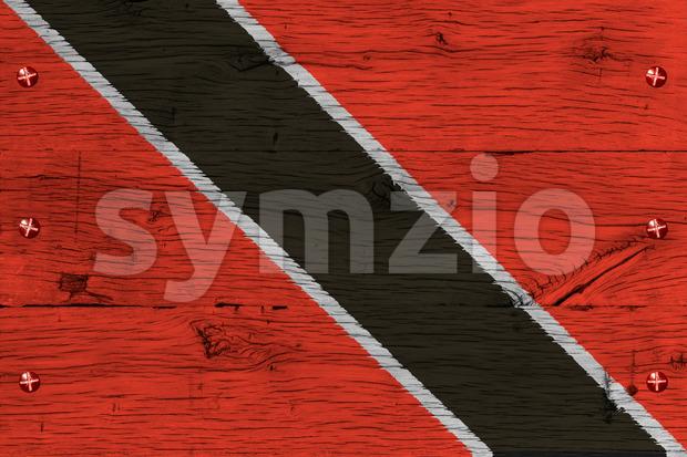 Trinidad Tobago national flag painted old oak wood fastened Stock Photo