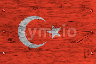 Turkey national flag painted old oak wood fastened Stock Photo