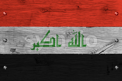 Iraq national flag painted old oak wood fastened Stock Photo