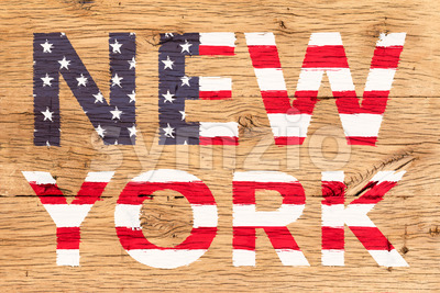 New York painted with pattern of flag United States old oak wood Stock Photo