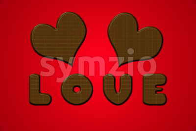 Love letters hearts chocolate valentine red Stock Photo