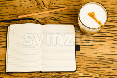 Concept empty notebook pencil start day Stock Photo