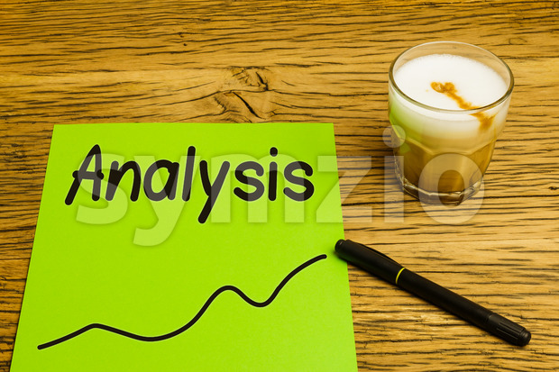 Analysis text graph green paper Stock Photo