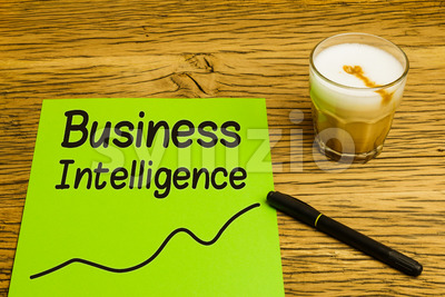Business intelligence graph green paper Stock Photo