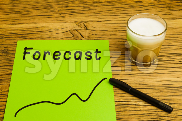 Forecast graph green paper Stock Photo
