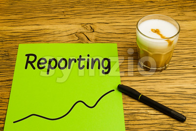 Reporting text graph green paper Stock Photo