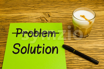 Business concept problem solution green paper Stock Photo