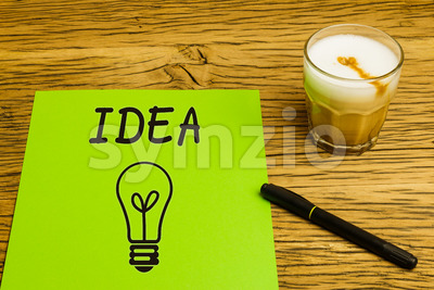 Concept empty green page idea coffee Stock Photo