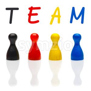 Concept team, teamwork, organization primary color black leader Stock Photo