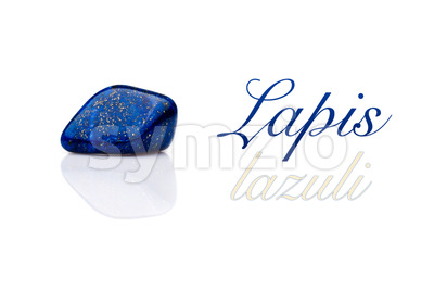 Beautiful blue lapis lazuli gem stone isolated text Stock Photo