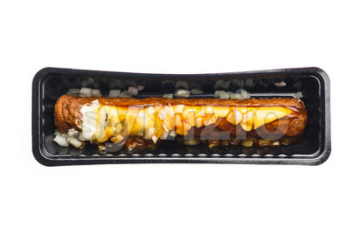 Frikandel special fast food container Stock Photo