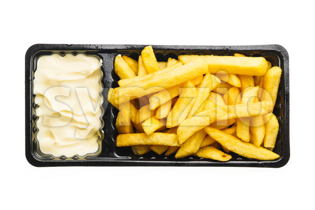 French fries with mayonnaise Stock Photo