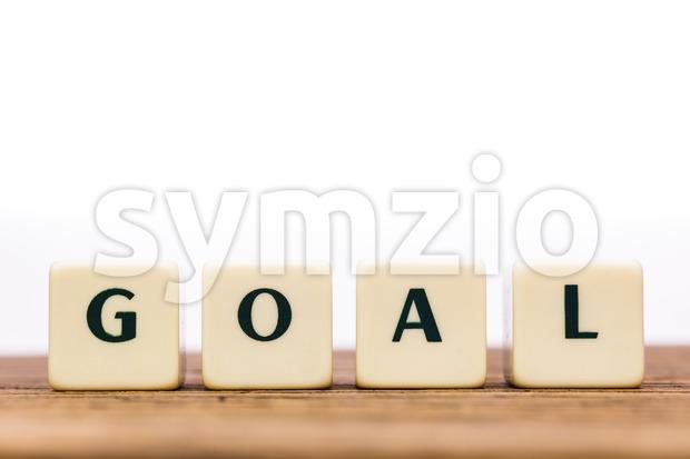 Dice letters word goal oak Stock Photo