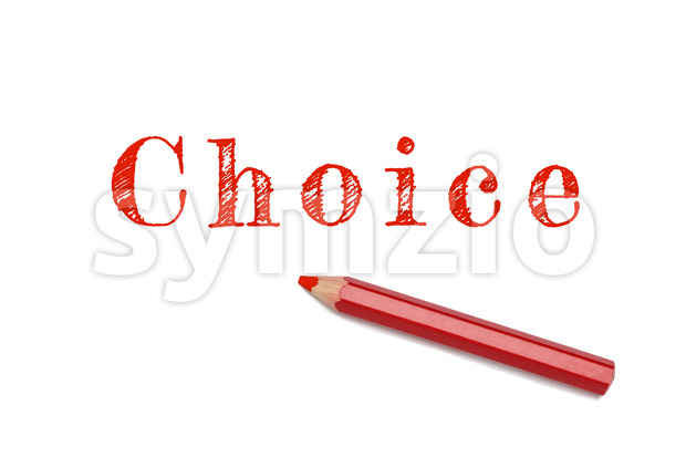 Choice lined written red pencil Stock Photo