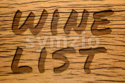 Text carved wood wine list Stock Photo