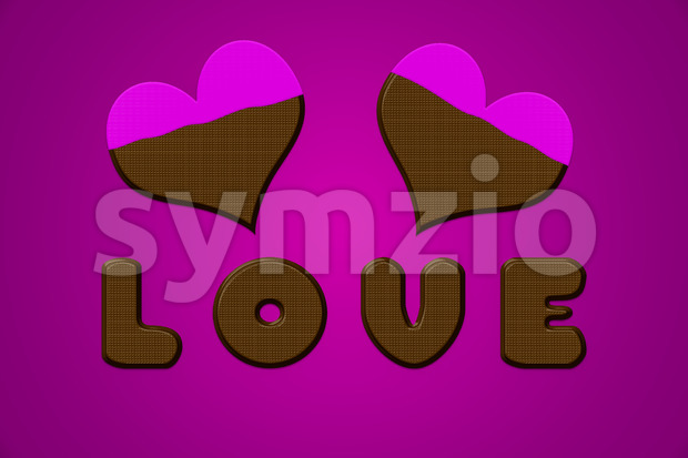 Love letters and hearts in chocolate for valentine day. Illustration on purple background with pink icing.