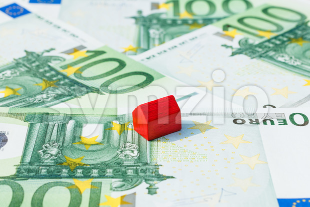 Concept house sell money euro red Stock Photo