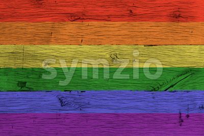 Rainbow or gay flag painted old oak wood Stock Photo