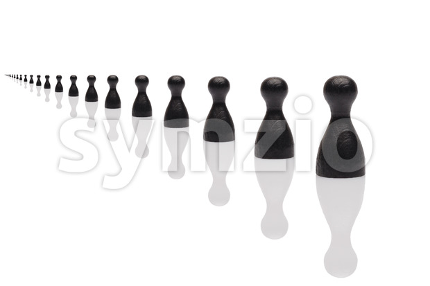 Concept: usiness line team inifinite black. Black pawn isolated on white background.