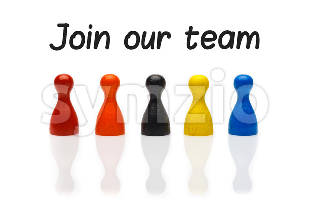 Concept join our team pawn white Stock Photo