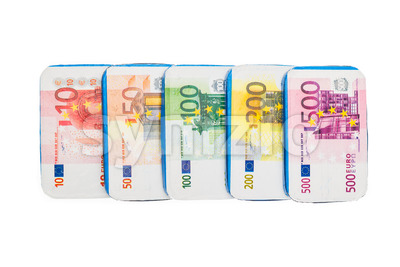 Fake euro banknotes chocolate Stock Photo