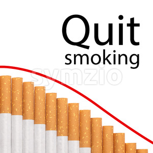 Quit smoking text graph cigarettes Stock Photo