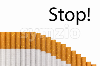 Stop smoking text graph of cigarettes Stock Photo