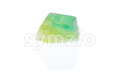 Rough emerald green calcite isolated Stock Photo