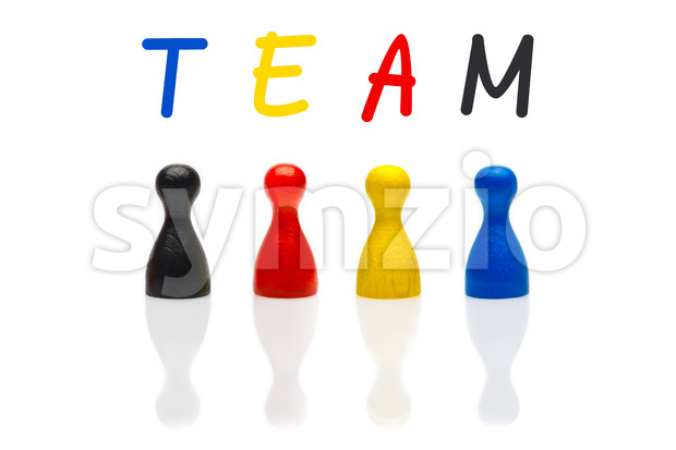 Concept team, teamwork, organization primary color black shuffle Stock Photo