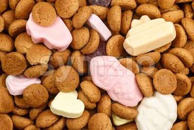 Pattern pepernoten and sweets Sinterklaas Stock Photo