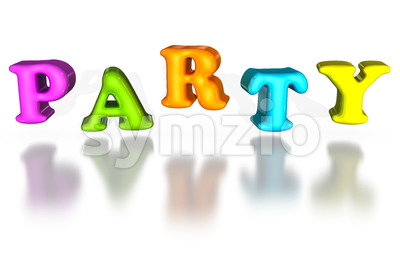 Balloon inflated letters party colorful 3d Stock Photo