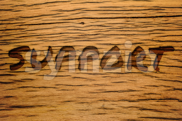 Text carved wood support Stock Photo