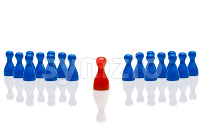 Business concept leadership step forward red group blue Stock Photo