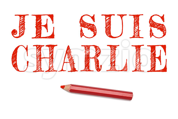 I am Charlie text in French outline draw red pencil isolated on white background. Support text for terrorist attack cartoonist ...