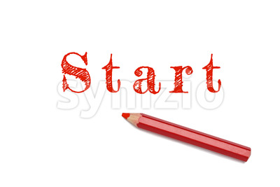 Start sketch red pencil Stock Photo