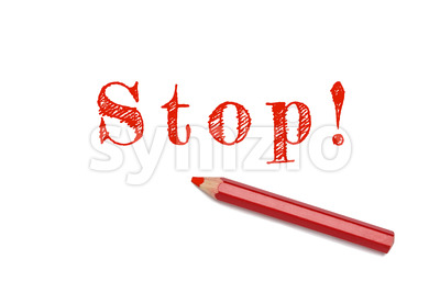 Stop sketch red pencil Stock Photo