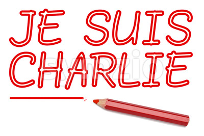 Je suis charlie lined written red pencil Stock Photo