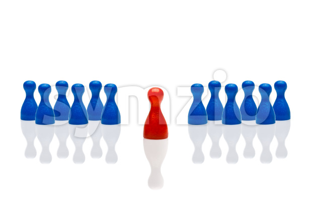 Business concept leadership step forward red multiple blue Stock Photo