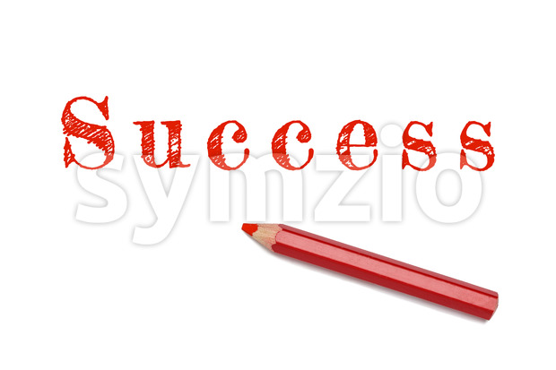 Success sketch text written red pencil white background. Business concept success and achievement