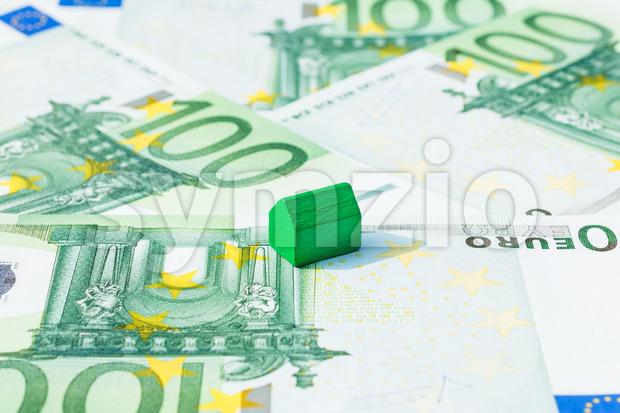 Concept house, pay bill, income euro Stock Photo