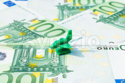 Concept travel airplane euro banknote Stock Photo
