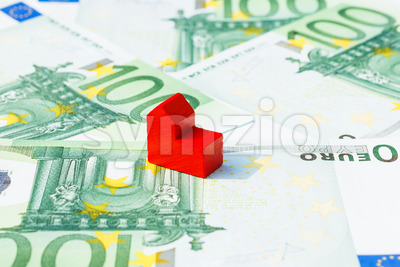 Concept church loan income euro red Stock Photo