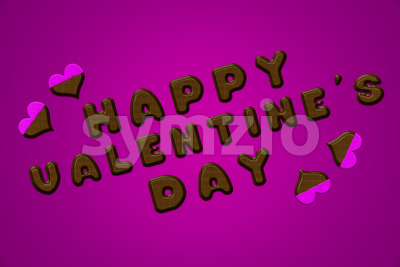 Happy valentine's day letters chocolate pink Stock Photo