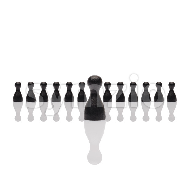 Business concept leader step forward group small black square Stock Photo
